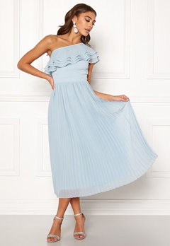 BUBBLEROOM Carolina Gynning Frill one shoulder dress Light blue Bubbleroom.no
