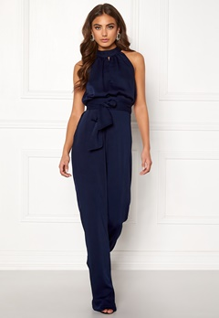 BUBBLEROOM Carolina Gynning High neck jumpsuit Dark blue Bubbleroom.no