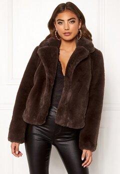 BUBBLEROOM Claudia faux fur jacket Brown Bubbleroom.no