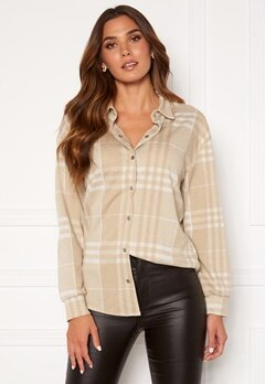 BUBBLEROOM Cleo checked overshirt  Beige Bubbleroom.no