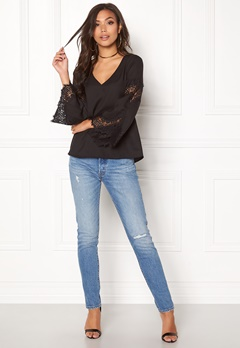 BUBBLEROOM Dana flared sleeve top Black Bubbleroom.no