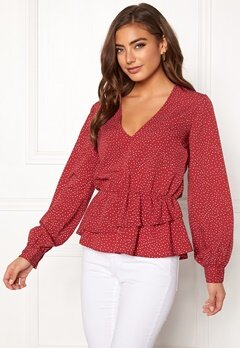 BUBBLEROOM Denice blouse Red / White / Dotted Bubbleroom.no