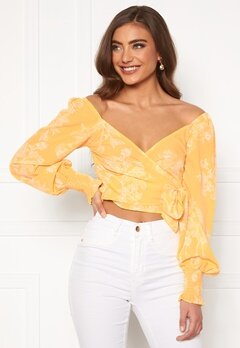 BUBBLEROOM Devin wrap top Yellow / White Bubbleroom.no