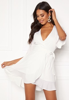 BUBBLEROOM Edie wrap dress White Bubbleroom.no