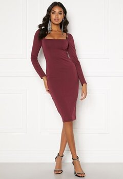 BUBBLEROOM Effie midi dress Wine-red Bubbleroom.no