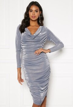 BUBBLEROOM Eleni sparkling waterfall dress Silver Bubbleroom.no