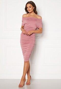 BUBBLEROOM Eleni waterfall short sleeve dress Pink Bubbleroom.no