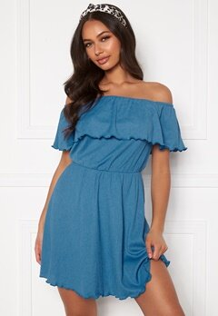 BUBBLEROOM Eliza offshoulder dress Blue Bubbleroom.no