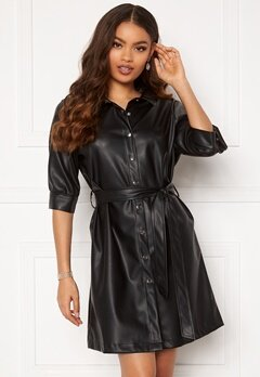 BUBBLEROOM Ella PU shirt dress Black Bubbleroom.no