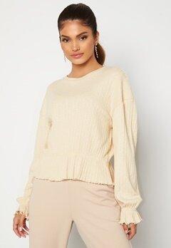 BUBBLEROOM Elleny ribbed flounce sweater Cream Bubbleroom.no