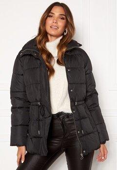 BUBBLEROOM Ellinora tie waist puffer jacket Black Bubbleroom.no