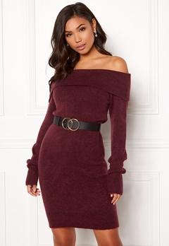 BUBBLEROOM Ember knitted dress Wine-red Bubbleroom.no