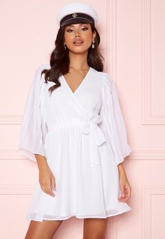BUBBLEROOM Fayme pleated sleeve dress White Bubbleroom.no