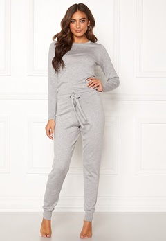 BUBBLEROOM Filippa fine knitted set Grey melange Bubbleroom.no