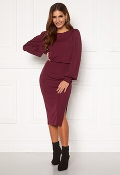 BUBBLEROOM Gry balloon sleeve dress Wine-red Bubbleroom.no