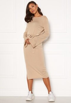 BUBBLEROOM Indra knitted dress Dark beige Bubbleroom.no