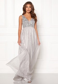 BUBBLEROOM Ivory embellished prom dress Light grey Bubbleroom.no
