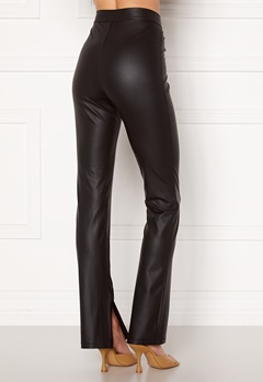 BUBBLEROOM Iza PU slit leggings Black bubbleroom.no