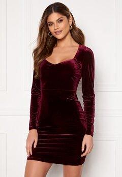 BUBBLEROOM Joan velvet dress Dark wine-red Bubbleroom.no