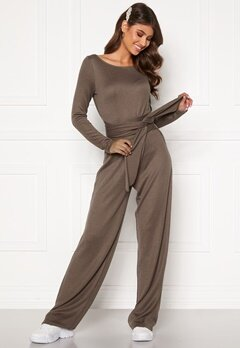 BUBBLEROOM Josie knitted jumpsuit Light brown Bubbleroom.no