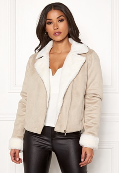 BUBBLEROOM Julia biker jacket Beige Bubbleroom.no