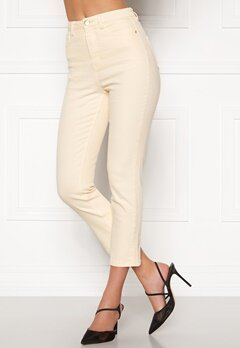 BUBBLEROOM Katy high waist semi stretch jeans Cream Bubbleroom.no