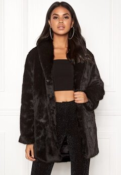 BUBBLEROOM Lene faux fur coat Black Bubbleroom.no