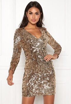 BUBBLEROOM Lene sequin dress Gold Bubbleroom.no