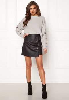 BUBBLEROOM Line PU skirt Black Bubbleroom.no