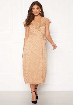 BUBBLEROOM Liw wrap dress Beige / Brown / Dotted Bubbleroom.no