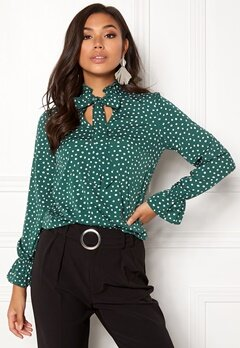 BUBBLEROOM Louisa blouse Dark green / Dotted Bubbleroom.no