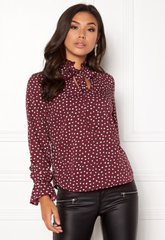BUBBLEROOM Louisa blouse Dark red / Dotted Bubbleroom.no