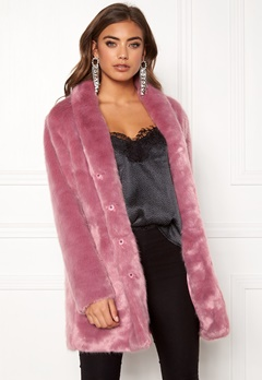 BUBBLEROOM Luxure faux fur coat Dusty pink Bubbleroom.no