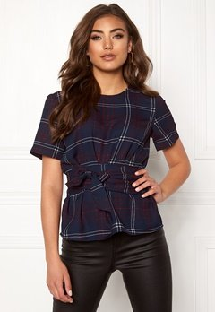 BUBBLEROOM Maddie tie blouse Navy / Checked Bubbleroom.no