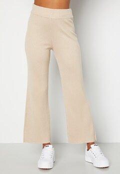 BUBBLEROOM Marah knitted long trousers Light beige bubbleroom.no