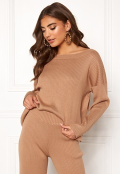 BUBBLEROOM Marah knitted sweater Camel Bubbleroom.no