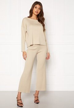 BUBBLEROOM Marah knitted trousers Light beige Bubbleroom.no