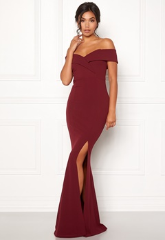 BUBBLEROOM Marianna folded off shoulder gown Wine-red Bubbleroom.no