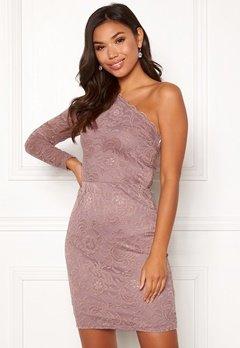 BUBBLEROOM Marianna lace one shoulder dress Dusty pink Bubbleroom.no