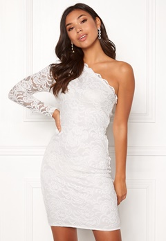 BUBBLEROOM Marianna lace one shoulder dress White Bubbleroom.no
