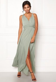 BUBBLEROOM Marianna cross back gown Dusty green Bubbleroom.no
