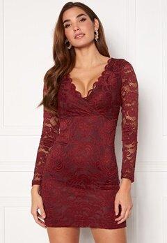 BUBBLEROOM Martha lace dress Wine-red Bubbleroom.no