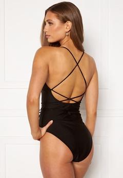 BUBBLEROOM Melia high thigh strap swimsuit Black Bubbleroom.no