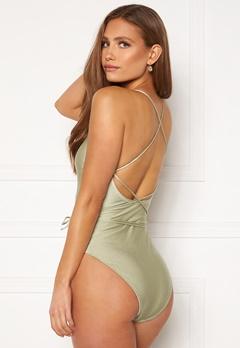 BUBBLEROOM Melia high thigh strap swimsuit Dusty green Bubbleroom.no