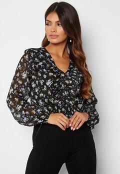 BUBBLEROOM Minty flounce blouse Black / Floral bubbleroom.no