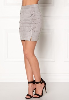 BUBBLEROOM Miriam suede skirt Light grey Bubbleroom.no