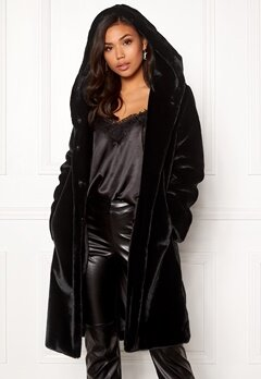BUBBLEROOM Molly faux fur coat Black Bubbleroom.no
