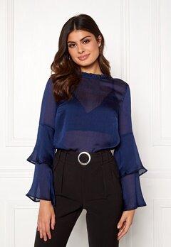 BUBBLEROOM Nadia flounce shirt Dark blue Bubbleroom.no