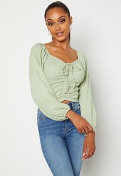 BUBBLEROOM Nadja soft blouse Dusty green Bubbleroom.no