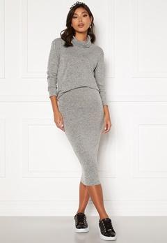 BUBBLEROOM Nalia fine knitted skirt Light grey melange bubbleroom.no